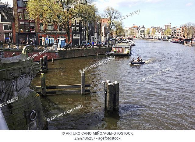 The river Amstel. Amsterdam, Netherlands