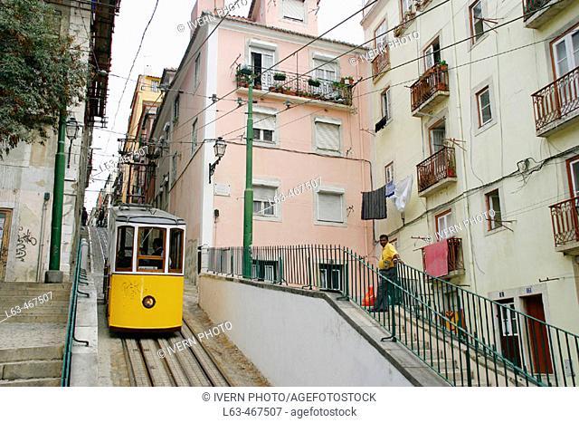 Bica cable car, Chiado, Lisbon. Portugal