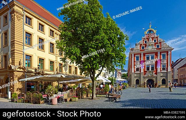 Town hall on the main market with street cafe, Gotha, Thuringia, Germany
