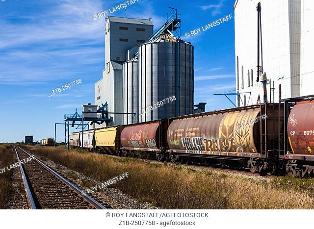 Grain elevators and railway cars ready to load wheat in the town of Killam, Alberta