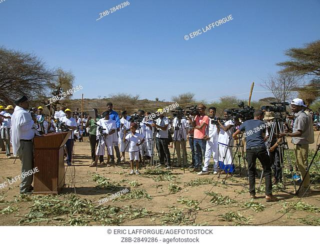 Man making a speech in front of the ethiopian press during the Gada system ceremony in Borana tribe, Oromia, Yabelo, Ethiopia