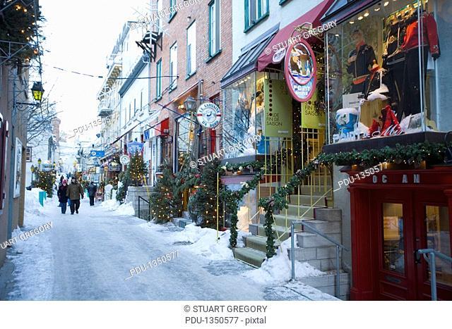 Canada, Quebec, Quebec City, Petit Champlain in winter