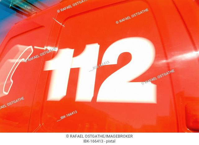 112, the emergency call number from the fire brigade in germany shown on a car