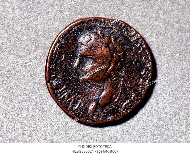 Roman coin from the first half of the 1st. century, having a head facing left, the issuing author?