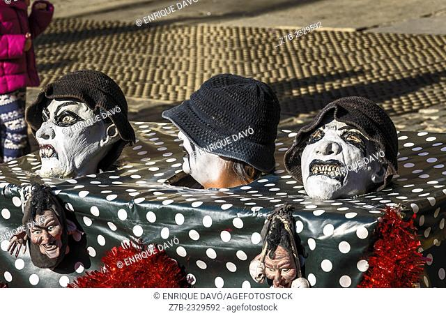 View of some hats in Major square, Madrid old town, Spain