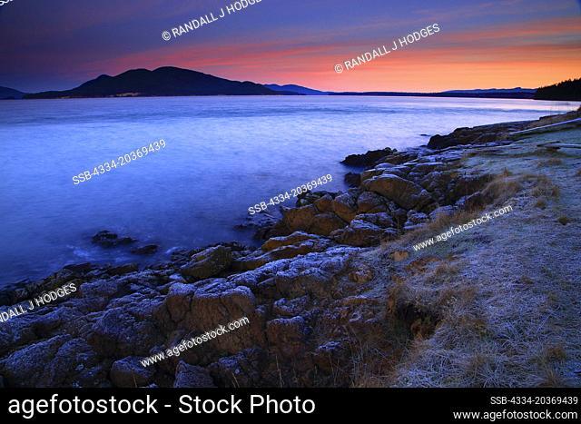Frosty Winter Sunrise in the San Juan Islands From Washington Park in Anancortes on Fidalgo Island in Washington