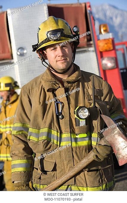 Firefighter with vehicle