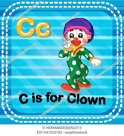 illustration of Flashcard letter C is for clown