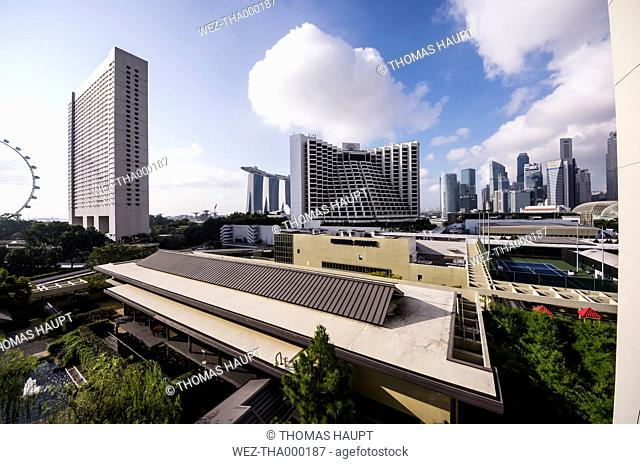 Singapore, Financial district, Marina Bay Sands Hotel, Hotel Sheraton and Singapore Flyer