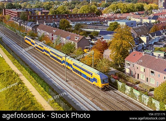 Tilburg, Netherlands. View on Tilburg Center-North and Traintracks from Spoorpark Tower