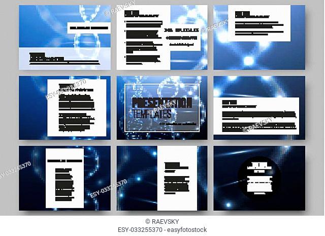 Set of 9 vector templates for presentation slides. DNA molecule structure on dark blue background. Science vector background