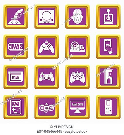 Video game icons set in purple color isolated illustration for web and any design