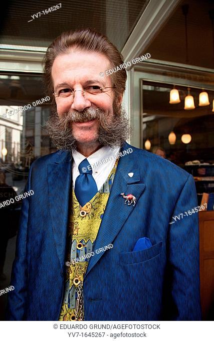 Public relations the Restaurant 'Zum Schwarzen Kameel' The Black Camel, modernist style and mustache nineteenth  Vienna, Austria