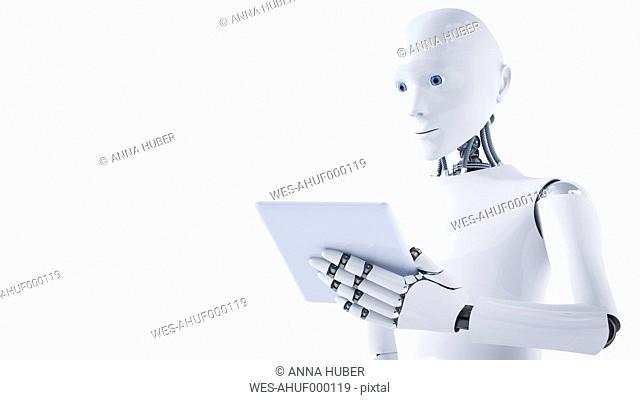 3D Rendering, Robot holding laptop