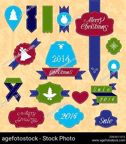 Illustration Christmas set variation labels and ribbons -