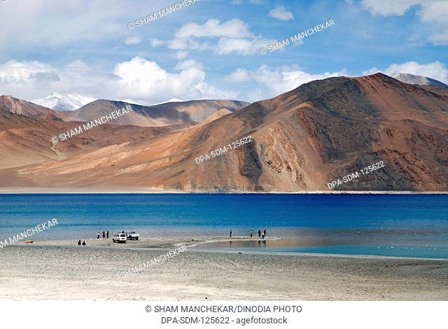 Pangong lake 14;500 highest salt water lake in world shared by two countries India & China ; Leh ; Ladakh ; Jammu & Kashmir ; India