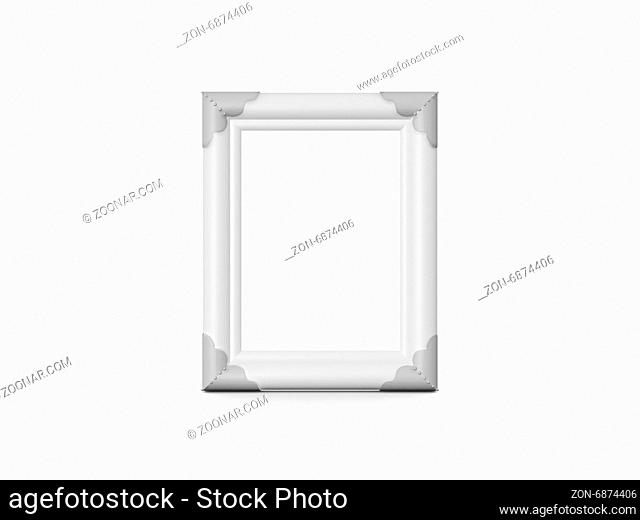 Blank vertical wooden photo frame, isolated on white background