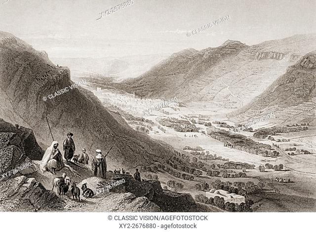 Valley of Sichem and Nablous from Mount Gerizim, Palestine, engraved by J. C. Bentley after W. H. Bartlett
