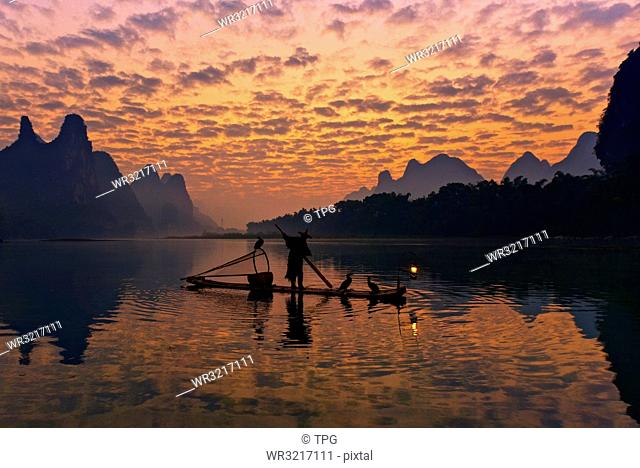 Sunrise;Li River;Cormorant Fishing;Guangxi;China