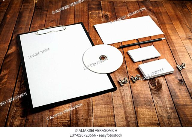 Blank stationery set. Blank corporate identity template on vintage wooden background. Mockup for design presentations and portfolios