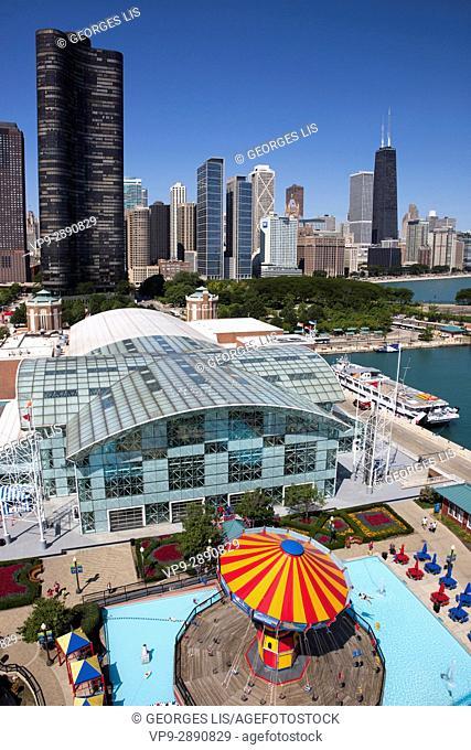 Chicago skyline from Ferris Wheel Navy Pier Lake Point Tower Willis Tower