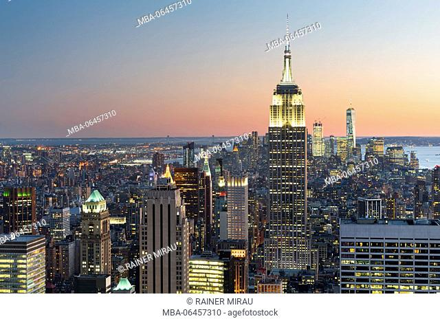 View of the top of the rock, empire State Building, Rockefeller centre, Manhattan, New York city, New York, the USA