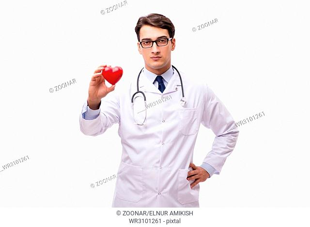 Doctor with heart isolated on white background