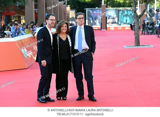 Director Ethan Coen with Laura Della Colli RomeFF president, and Antonio Monda RomeFF director. Rome Italy, 17-10-2019