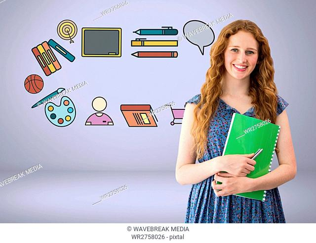Student with education graphic drawings