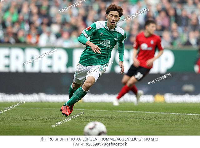 firo: 13.04.2019, Football, 2018/2019, 1.Bundesliga: Werder Bremen - SC Freiburg 2: 1 single action, Yuya Osako   usage worldwide