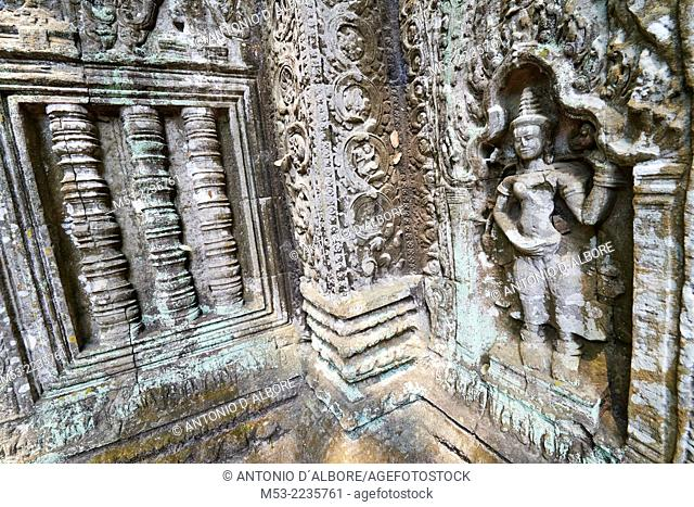 Bas-relief carvings at Ta Prohm ruin, a temple at Angkor. Siem Reap. Cambodia