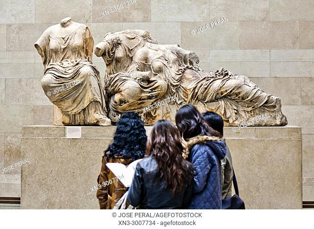 Elgin Marbles, Parthenon Marbles, Statuary from the east pediment, Classical Greek marble sculptures, British Museum, Bloomsbury, Great Russell St, London