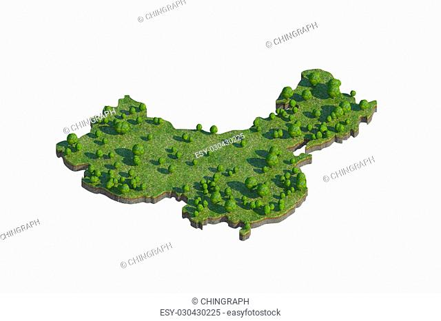 3d render of china map section cut isolated on white with clipping path