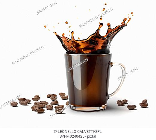 Glass mug with coffee splash. Some coffee beans on the surface besides it. On white background