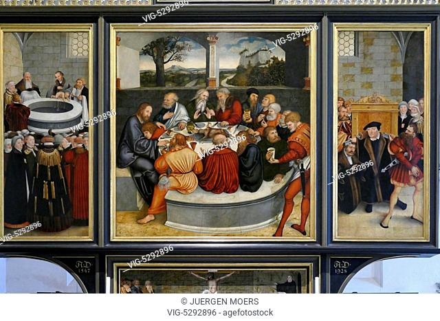 23.05.2015, Germany, Wittenberg, MARTIN LUTHER on paintings by Lucas Cranach the Elder in the Reformation Church St. Mary's Church in Wittenberg