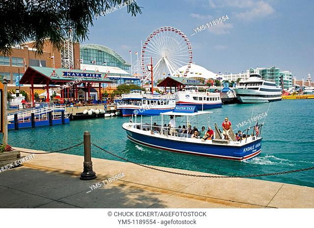 Chicago's Navy Pier Pictured is a water taxi delivering visitors to the 1 tourist destination in the mid-west. A Convention Center, I-Max Theater, Beer Garden