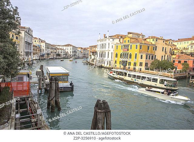 Venice, Veneto, Italy : View of Grand Canal from Accademia bridge.