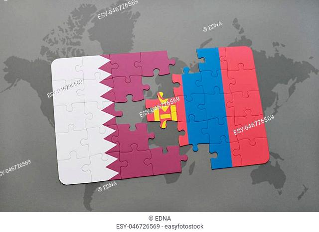 puzzle with the national flag of qatar and mongolia on a world map background. 3D illustration