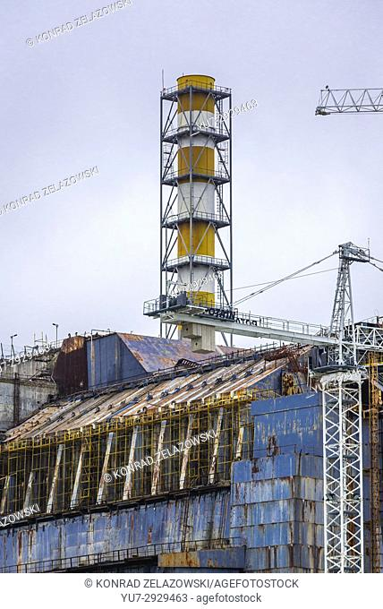 Old steel and concrete sarcophagus of reactor No 4 of Chernobyl Nuclear Power Plant in Zone of Alienation in Ukraine