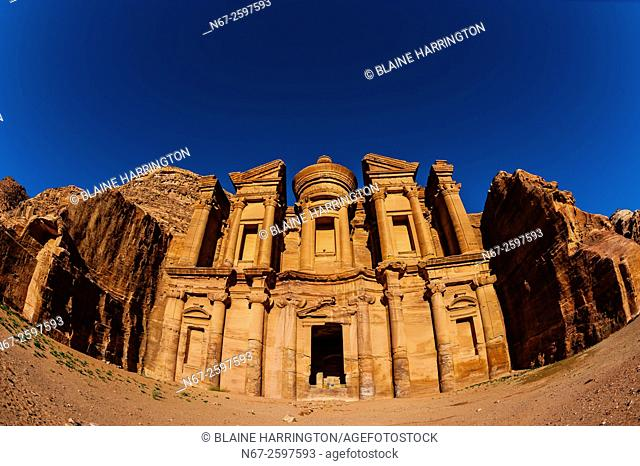 The Monastery (Ad-Dayr or Ad-Deir in Arabic) boasts a massive facade almost fifty metres square, Petra Archaeological Park, Jordan