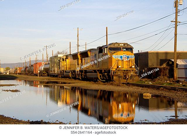 A daily Union Pacific train in Spokane, Washington, USA