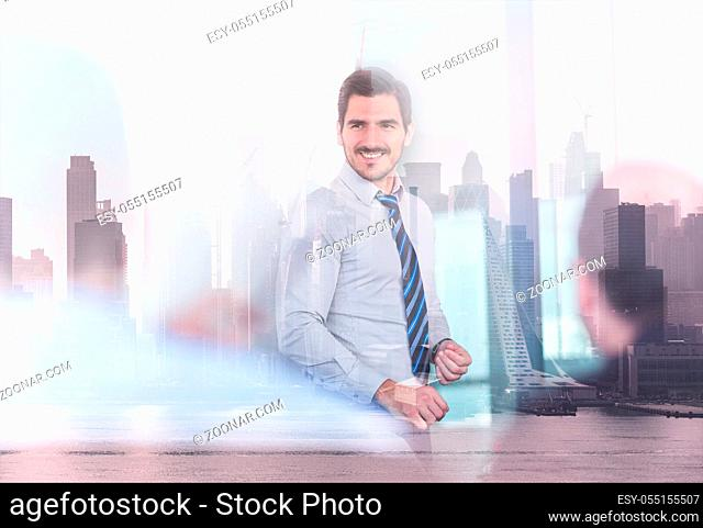 Corporate business, entrepreneurship and economic prosperity concep. Confident company leader on business meeting against new york city manhattan buildings and...