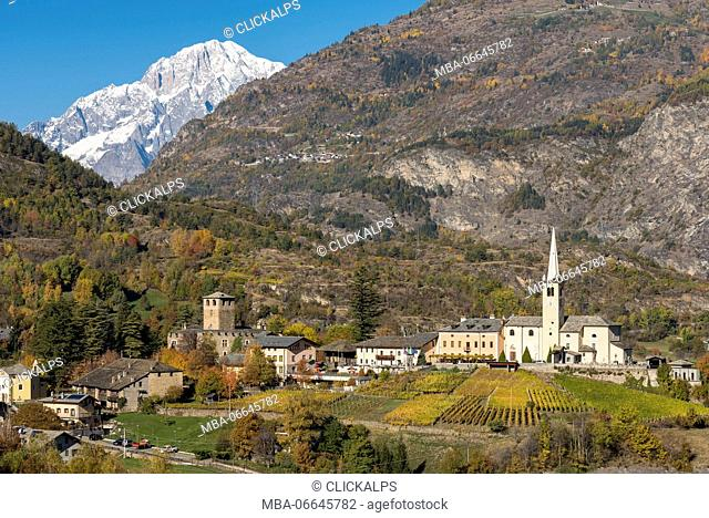 Castle and Church of Introd with Mont Blanc in the background, Aosta Valley, Italy