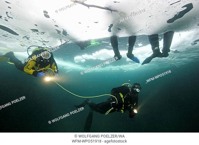 Ice-Diver Team with Buddy-Rope, Lake Attersee, Upper Austria, Austria