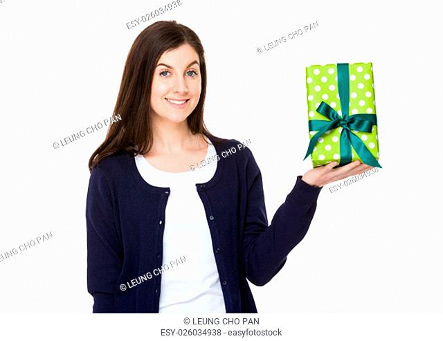 Caucasian woman show with gift box
