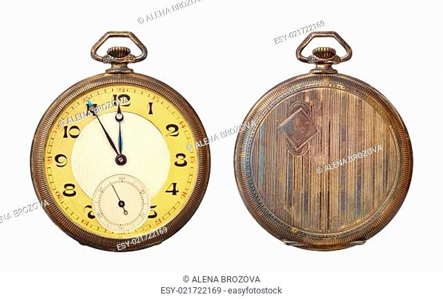 Old antique pocket watch isolated on white background. Clipping path included