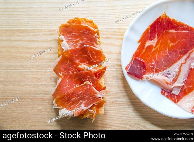 Bread with Iberian ham. Spain