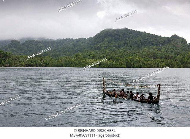 Locals of the island Telina greet visitor, Marovo lagoon, the Solomon Islands