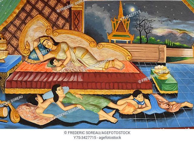 Religious mural at Wat Preah Prom Rath, Siem Reap, Cambodia, South Esat Asia
