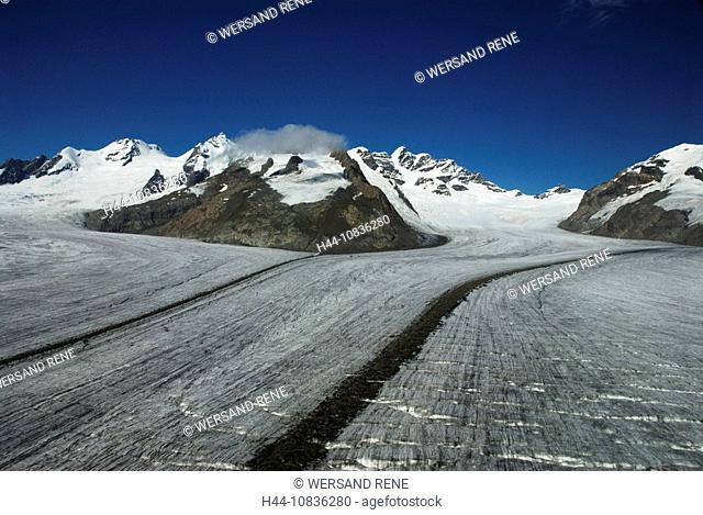 Switzerland, Europe, Aletsch Glacier, Canton Valais, landscape, alps, glacier, aerial photo, snow, perpetual ice, glac